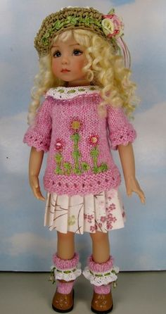 "Dianna EFFNER13"" Little Darlings OOAK Knit Outfit Cherry Parfait by Janet   eBay"