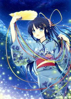 anime girl in kimono with fan