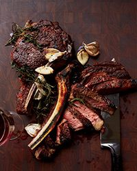 Butter Basted Rib Eye Steaks - Food & Wine This sensational rib eye couldn't be simpler; the meat is basted with butter, garlic and herbs while it cooks in a skillet, making it especially luscious. Steak Recipes, Wine Recipes, Cooking Recipes, Galloway, Steak Dishes, Beef Steak, Roast Beef, Pork, Steaks