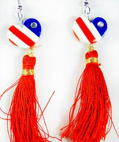 1522H - Earrings, 4th of July, Independence Day, Flag Day, Memorial Day, patriotic earrings, red white blue, patriotic jewelry, red tassle by EarringsBraceletsEtc on Etsy