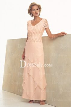 Pink Sleeveless V-neck Sheath Chiffon Mother Of Bride Dresses