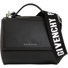 Givenchy Women Mini Pandora Box Logo Strap Leather Bag (5.305 RON) ❤ liked on Polyvore featuring bags, handbags, shoulder bags, bolsas, givenchy, black, givenchy purse, shoulder strap handbags, givenchy handbags and shoulder strap bags