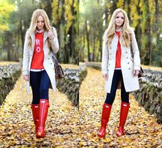 Getting these red hunter rain boots Hunter Boots Fashion, Red Hunter Rain Boots, Rain Boots Fashion, Hunter Boots Outfit, Fall Winter Outfits, Autumn Winter Fashion, Moda Outfits, Rainy Day Fashion, Stylish Outfits