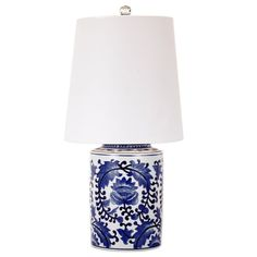 Blue and White Ivy Lamp