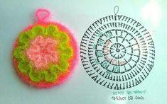 뜨개질사랑 & 솜씨자랑 | BAND Crochet Motif Patterns, Crochet Diagram, Crochet Chart, Diy Crochet, Crochet Scrubbies, Crochet Potholders, Crochet Doilies, Crochet Flowers, Crochet Circles