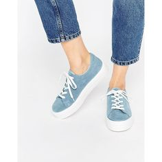 ASOS DAY TRIP Suede Flatform Sneakers ($34) ❤ liked on Polyvore featuring shoes, sneakers, blue, blue suede sneakers, suede leather shoes, lacing sneakers, laced shoes and cushioned shoes