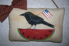 Primitive Summer Crow & Watermelon Pillow Tuck