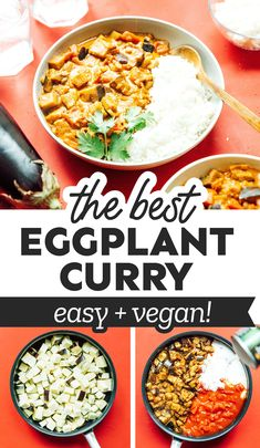 This Aubergine Curry or (Eggplant Curry) is an easy recipe that uses straightforward ingredients and is ready in under an hour. Perfect for two! #aubergine #eggplant #curry #vegan #vegetarian #indian #dinner Best Vegetarian Recipes, Curry Recipes, Asian Recipes, Vegan Vegetarian, Healthy Recipes, Vegan Curry, Ethnic Recipes, Healthy Food, Aubergine Curry Recipe