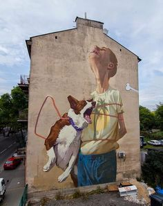 Polish graffiti artists Sainer and Bezt, collectively known as Etam Cru , paint large scale murals of surreal scenes heavily charged with Ea. Graffiti Art, Murals Street Art, Street Art News, Best Street Art, 3d Street Art, Amazing Street Art, Mural Art, Street Artists, Banksy