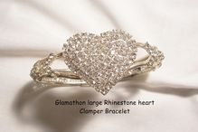 perfect for valentines day New Year Sale! Many items sale priced with 20 to 60% off Now shipping Global express flat rate to limited country's Glamorous Vintage valentine Heart Clear Rhinestone Clamper Bracelet