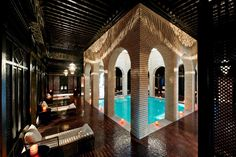 Jacques Garcia took inspiration from the East. Carved wood screens and installed vaulted ceilings. The Most Beautifully Designed Spas Around the World : Architectural Digest