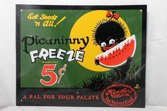 Picaninny Freeze Watermelon Black Americana Kendlers Ice Cream Tin Sign - Repro