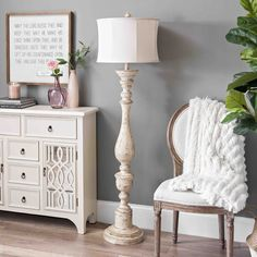 Our Distressed Cream Spindle Floor Lamp brings a antique touch to your home decor. With a distressed cream finish, it'll become a quick classic in your style. Farmhouse Floor Lamps, Farmhouse Flooring, Modern Farmhouse Decor, Floor Lamp With Shelves, Wood Floor Lamp, Torchiere Floor Lamp, Modern Floor Lamps, Modern Lighting, Chandeliers