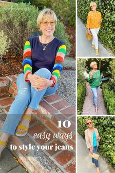 10 Easy Outfit Ideas With Jeans #denimlooks #over40fashion #outfitideas #jeansoutfits Jeans And Sneakers Outfit, Sneakers Outfit Summer, White Jeans Outfit, Jeans Outfit Summer, Summer Outfits, Summer Clothes, Mature Women Fashion, Linen Jackets, Sweater And Shorts