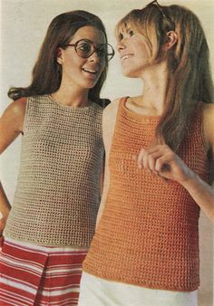 Top, Crochet Pattern, Two Tops, Sizes 32, 34 and 36 inch bust, Instant Download, Womens Crochet Top, Crochet Pattern, Vintage, 1968
