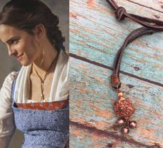 Belle Inspired Necklace, Beauty and the Beast Necklace, Emma Watson Leather Lariat Necklace, Leather and Copper Adjustable Lariat Necklace by TracyTayanDesigns on Etsy