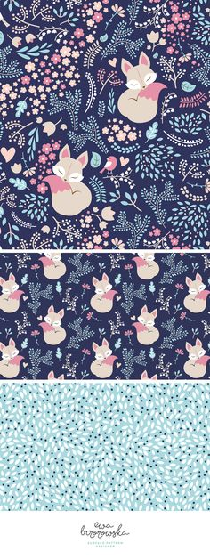 """""""Sleeping fox"""" - surface pattern design mini-collection made for a Spoonflower Weekly Contest. It took 1st place in a contest with pastel limited color palette :)"""