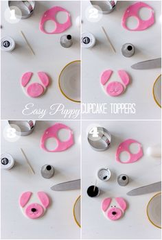 Easy Puppy Cupcakes (How-To) Easy Fondant Cupcakes, Puppy Cupcakes, Fondant Cupcake Toppers, Fondant Cakes, Cupcake Cakes, White Cupcake Recipes, White Cupcakes, Easy To Make Desserts, Puppy Party