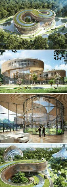 This Eco-Village Is An Environmentalist's Dream - moderne Gebäude/Architektur - Bathroom Architecture Durable, Art Et Architecture, Futuristic Architecture, Sustainable Architecture, Beautiful Architecture, Sustainable Design, Pavilion Architecture, Contemporary Architecture, Contemporary Houses