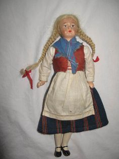 "Doll. Kimport. Porcelain & Cloth. 10"" tall. Neko. Made in Finland. 1930's? #Dolls"