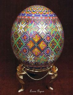 "A pysanka (Ukrainian: писанка, plural: pysanky) is a pretty Ukrainian Easter egg, decorated with traditional Ukrainian folk designs using a wax-resist (batik) method. The word pysanka comes from the verb pysaty, ""to write"", as the designs are not painted on, but written with beeswax.  Many other eastern European ethnic groups decorate eggs using wax resist for Easter."