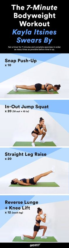 Complete workout without equipment x 4 exercises ****.  #greatist http://greatist.com/fitness/free-kayla-itsines-workout-7-minute-workout