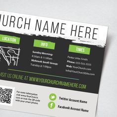 """A medium 9"""" x 4"""" invitation highlighting a Church's contact information and service times. Typically printed front and back in full color on 14pt card stock paper."""