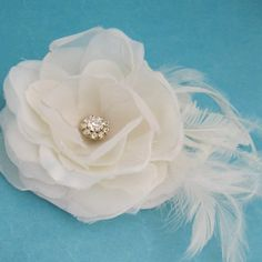 Small Ivory Organza and Feather Rose Hair Clip E273 by HARTfeltart, $39.00