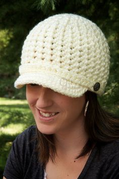 Women's Brimmed Beanie - Cream/Off-White - READY TO SHIP on Etsy, $25.00