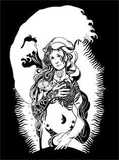 botticelli vs mike giant vs hokusai vs tattoo mashup XD Mike Giant, Design Art, Ink, Drawing, Tattoos, Black, Tatuajes, Black People, Tattoo