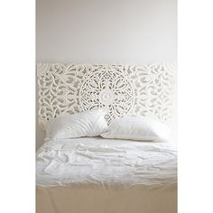 Sienna Headboard (460 AUD) ❤ liked on Polyvore featuring home, furniture, beds, white, white headboard, white bed, queen headboard, white furniture and sienna furniture