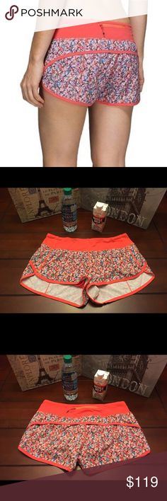 Lululemon Speed Shorts-Prism Petal, Size 6 Lululemon Speed Shorts-Prism Petal Atomic Red, Size 6  Lulu speed shorts in Prism Petal Atomic Red print. Super cute! Zipper pocket in back with two small interior waistband pockets. Fabulous like-new condition!! ☺️ lululemon athletica Shorts