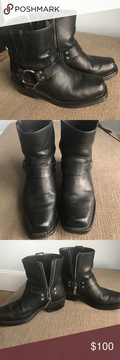 Harley Davidson Moto Boot Black Harness Harley Davidson Moto Boot. 2in heel, 8in height including heel, hits below calf. Zippers work, slight scuffing on toes, Zipper is starting to come away from the boot on the left. Previously worn, a lot of wear and love left Harley-Davidson Shoes Combat & Moto Boots