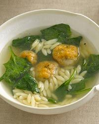 Chicken Meatball-and-Orzo Soup Recipe (use ground chicken to make meatballs instead of chicken sausage? Could be bland--would need to amp up the herbs and spices.)