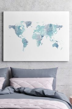 Watercolor world map canvas print, blue world map wall art, canvas wall art, canvas wall decor, blue world map art, watercolor paintings, watercolor art, world map decor, world map art