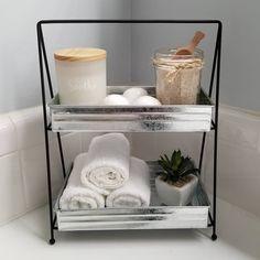 Target Bathroom, Bathroom Tray, Rustic Bathroom Decor, Bathroom Shelves, Bathroom Ideas, Lavender Bathroom, Galvanized Tray, Hand Towels Bathroom, Upstairs Bathrooms