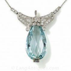 Art Deco Aquamarine and Diamond Necklace