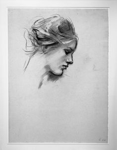 John Singer Sargent / Female Head in Profile / 1895 - 1916 / Charcoal on blue laid paper