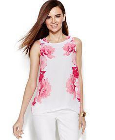 INC International Concepts Sleeveless Floral-Print Keyhole Top