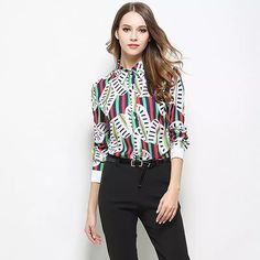 372f867f2bd13 Creative Printing Casual Shirts Elgant Work Blouse Slim Fit Straiped Spring  Women Clothing 2017 New Fashion Top