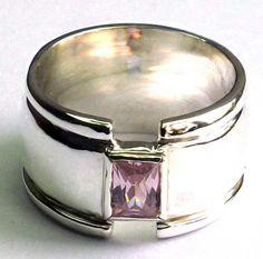 anillo matrimonio en plata 925, ancho 1cm, con circón suizo