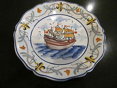 Lovely French Quimper Vintage Sailing SHIP Plate Made in France Pierre Deux | eBay
