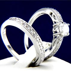New 0.79 CT Clear CZ Engagement 316L Stainless Steel Wedding Brass Band Ring Set #InterStoreJewelry