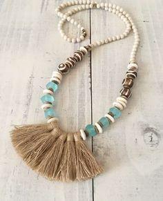CH Jewelry — Tassel + Seaglass Necklace - new season bijouterie Tassel Jewelry, Pearl Jewelry, Wire Jewelry, Beaded Jewelry, Jewelery, Jewelry Necklaces, Long Beaded Necklaces, Jewelry Findings, Hang Necklaces