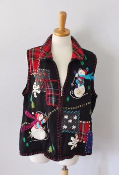 Ugly Christmas Sweater Vest Women 2xl xxl Men XL busy snowman TACKY busy CS29 #DesignersOriginalsStudio #VestSleeveless