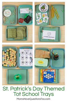 St Patrick's Day Tot School Ideas -- Fun tot trays including books, toys, practical life and more. Outdoor Activities For Toddlers, Toddler Learning Activities, Montessori Activities, Spring Activities, Holiday Activities, Infant Activities, Montessori Homeschool, Toddler School, Tot School