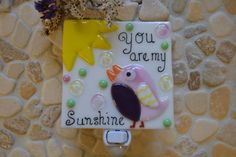 Night Light, You Are My Sunshine, Baby Girl, Fused Glass by PurpleSlugGlassArt on Etsy
