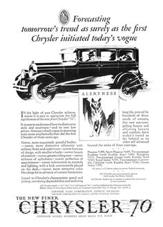"""Chrysler """"70"""" Ad (January, 1927): Alertness - Illustrated by Fred Cole"""