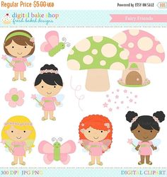 This Fairy Friends Clip Art set is perfect for little girls who love fairies! Clip art included: fairies, mushrooms, butterflies, flower and pixie