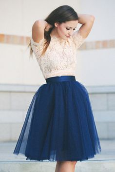 "The Wendy tulle skirt - Navy 25"" Length"